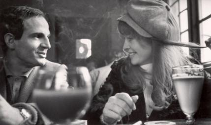 Francois Truffaut and Julie Christie break during filming of Farenheit 451