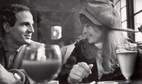 Francois Truffaut and Julie Christie break during filming of Farenheit 451