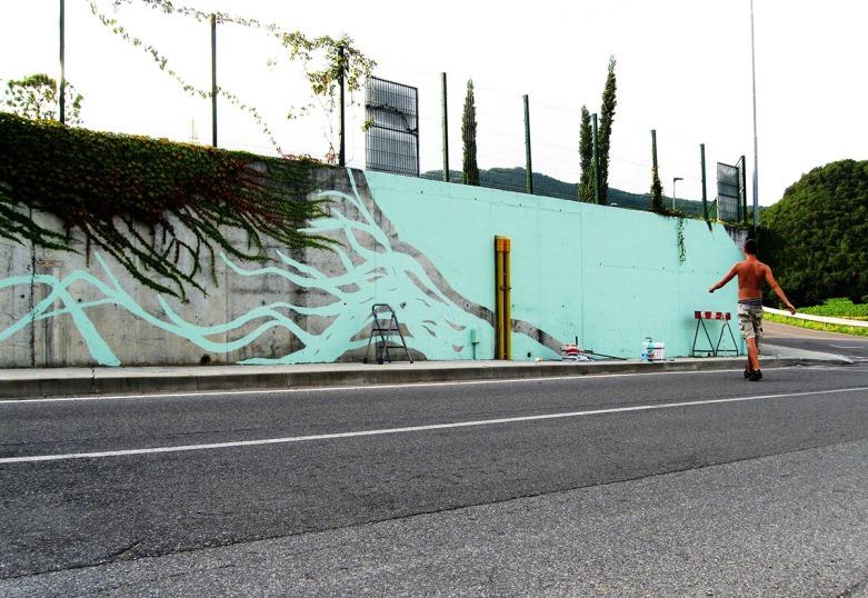 ECOMasse - Piscine di Provaglio d'Iseo. Muro esterno.