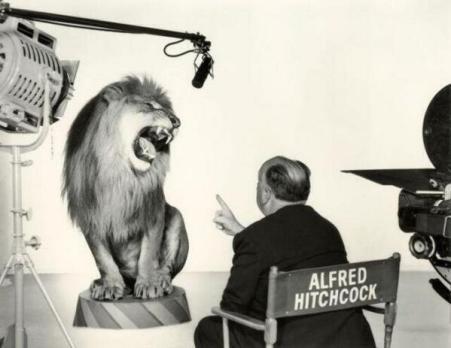 Alfred Hitchcock che dà indicazioni registiche al leone della Metro-Goldwyn-Mayer