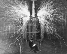 Nikola Tesla nel suo laboratorio, 1899