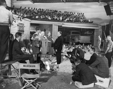 Hitchcock sul set di The Birds - 1963