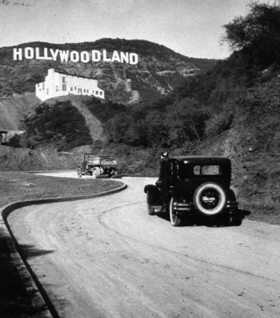 The famous Hollywood sign, originally Hollywoodland the last 4 letters removed in 1949