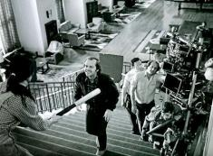 Wendy backing up the stairs swinging the baseball bat in The Shining. Stanley Kubrick had this scene shot 127 times