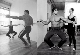 Arnold Schwarzenegger prende una lezione di ballo dalla ballerina Marianne Claire. 4 ottobre 1976