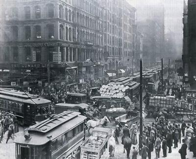 L'ora di punta a Chicago, 1909