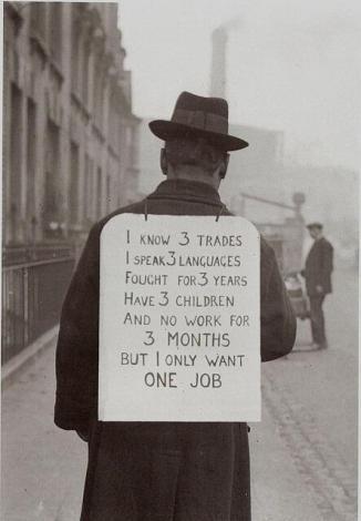 cercatore di lavoro nel 1930