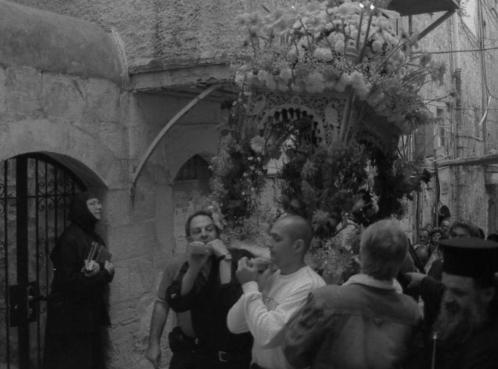 Una processione ortodossa di Pasqua in Gerusalemme
