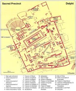 Delfi - Mappa recinto sacro