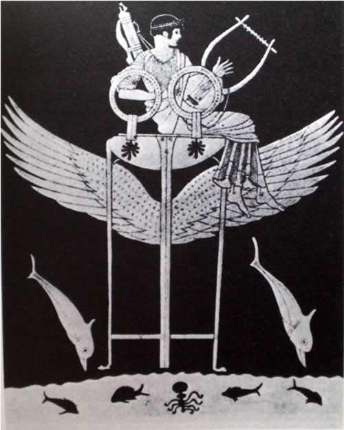 La Pizia sul tripode. I delfini sono animali cari ad Apollo e deriva da loro il nome di Delfi