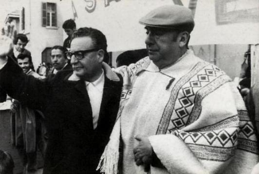 Salvador Allende e il poeta Pablo Neruda negli anni '70. Biblioteca del Congresso Nazionale del Cile