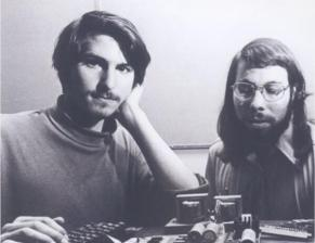 Steve Jobs & Steve Wozniak working together in the early days of Apple