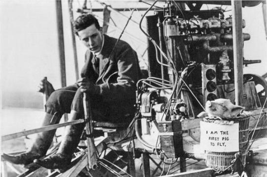 """""""Quando i maiali volano ..."""" - Il primo volo di un maiale ha avuto luogo presso Leysdown, Kent, Inghilterra. 1909"""