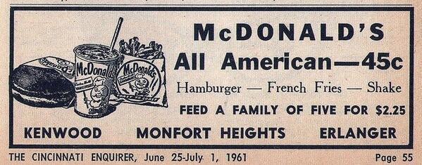 Pubblicità Vintage McDonald del 1960
