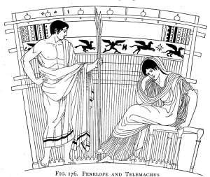 Penelope e Telemaco a Itaca