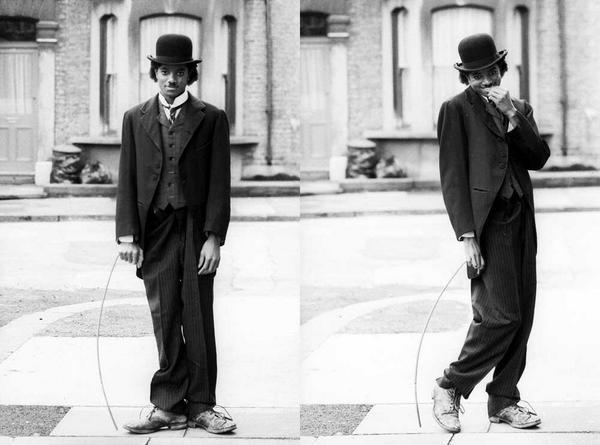Michael Jackson travestito da Charlie Chaplin
