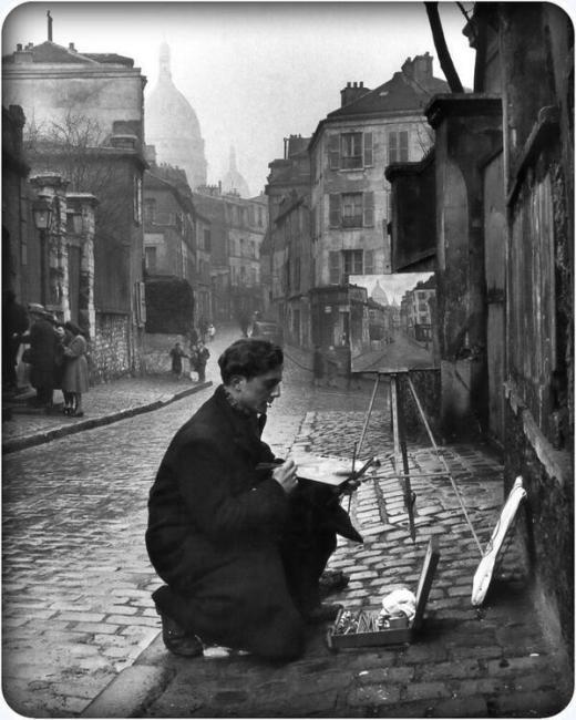 Artista a Parigi, Montmartre, 1946