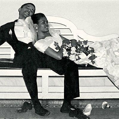 Gli Obama il giorno del loro matrimonio, 1992