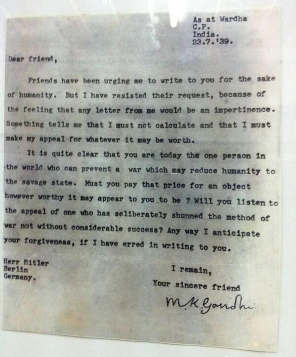 Una lettera di Gandhi a Hitler, scritta nel luglio 1939