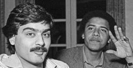 Barack Obama con un amico in Karachi, 1982