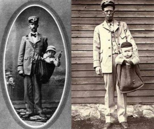 Due bambini che si affacciano dalla borsa dei rispettivi postini quando la legge permetteva che fossero inviati via posta