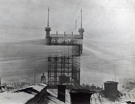 """Telephone Tower"" a Stoccolma, Svezia. Gestiva più di 5000 linee. C. 1890"