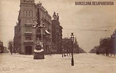 Gran Nevada a Barcellona il 15 gennaio 1914 Cruïlla de Av. Diagonal amb Passeig de Gracia