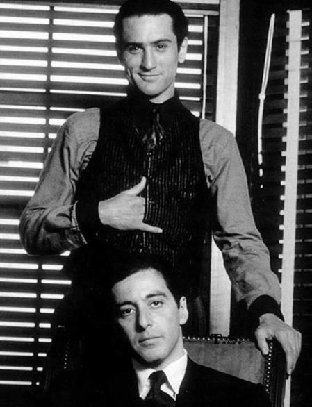 Robert De Niro e Al Pacino sul set de Il Padrino Parte II, 1974
