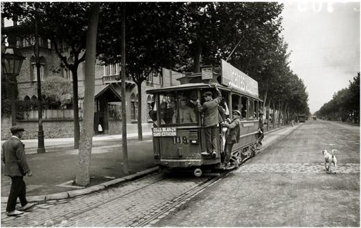 Tram linea ferroviaria Collblanch-Sants. Barcellona, c.1920