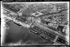 Vista aerea del porto di Barcellona dal idrovolante Savoia S.9 il primo volo commerciale da Barcellona a Maiorca. 18.03.1920