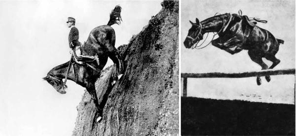 Federico Caprilli dimostra le capacità del suo cavallo come parte della stimata Scuola italiana di Cavalleria 1906