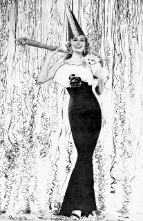 Anita Ekberg e un cane festeggiano il nuovo anno