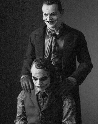 Jack Nicholson and Heath Ledger as the Joker