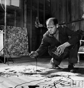 Jackson Pollock mentre fuma e dipinge