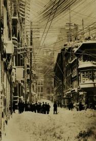 Cavi telefonici sopra New York City c. 1880