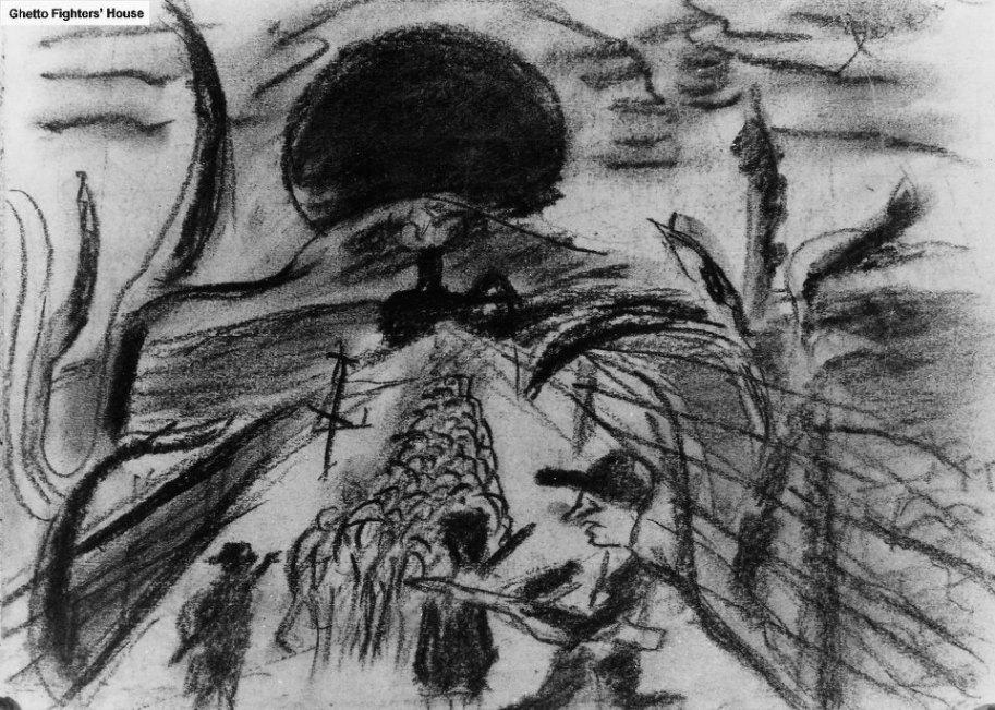 Disegno fatto in Auschwitz - Birkenau da Yehuda Bacon, 14 anni