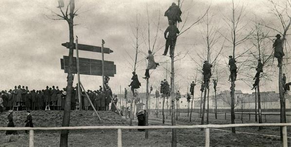 Fans negli alberi. Match tra Belgio e Olanda nel 1913