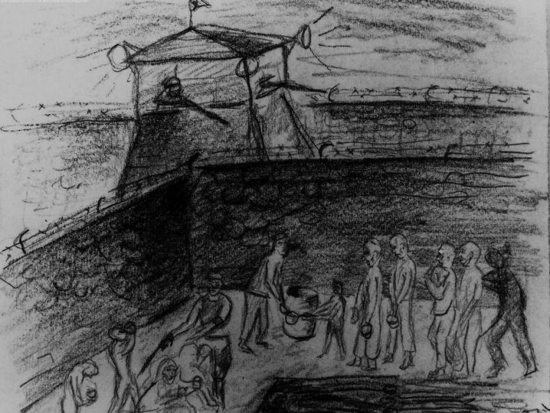 Il campo di Auschwitz - un disegno di Yehuda Bacon