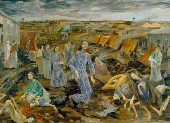 Leslie Cole - Belsen Camp The Compound for Women