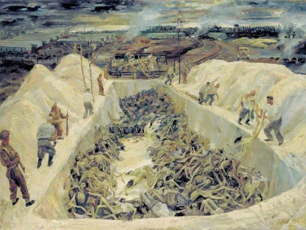 Leslie Cole - One of the Death Pits, Belsen; SS guards collecting bodies