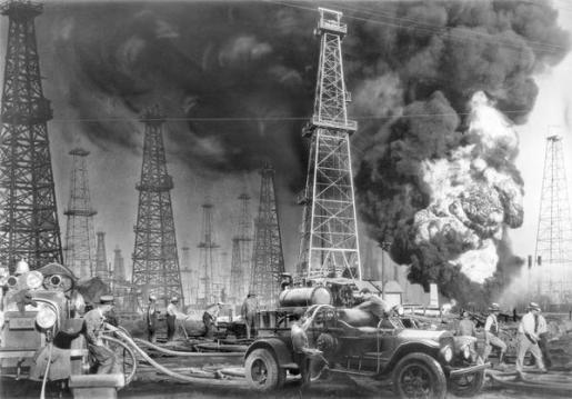 Fuoco nel pozzo di petrolio, Southern California, 1931 da Dick Whittington