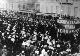 1917 Manifestazione per il voto femminile in Russia. Foto GettyImages