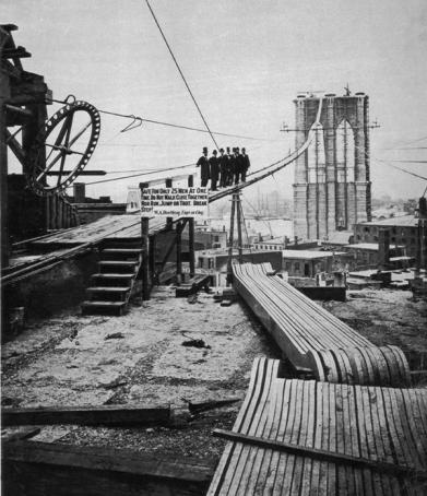 1877- Un gruppo di uomini posa su uno dei cavi del ponte di Brooklyn a metà costruzione