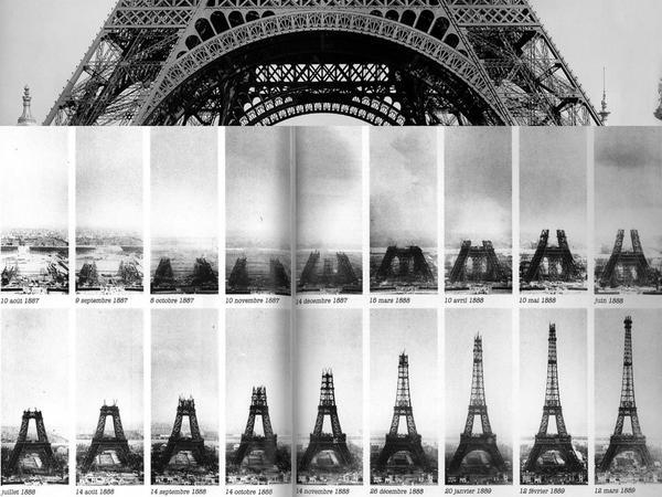 31 MARZO 1889 - L'ngegnere Gustave Eiffel dispiega il tricolore francese dalla cima della Torre Eiffel per celebrare il suo completamento