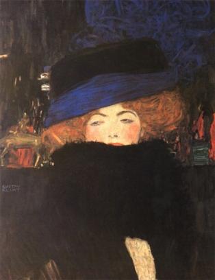 Klimt - Donna con cappello e boa di piume (1909)