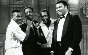 Mike Tyson, Arsenio Hall, Sugar Ray Leonard e Muhammad Ali, 1990