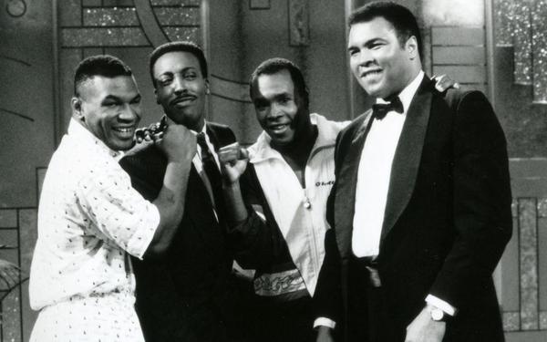 Mike Tyson, Arsenio Hall, Sugar Ray Leonard e Muhammad Ali, 1990