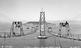 Le passerelle per la costruzione del San Francisco Bay Bridge, San Francisco Anchorage, Span W2 W3-1935