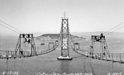 Le passerelle per la costruzione del San Francisco Bay Bridge, San Francisco Anchorage, Span W2 W3-1935