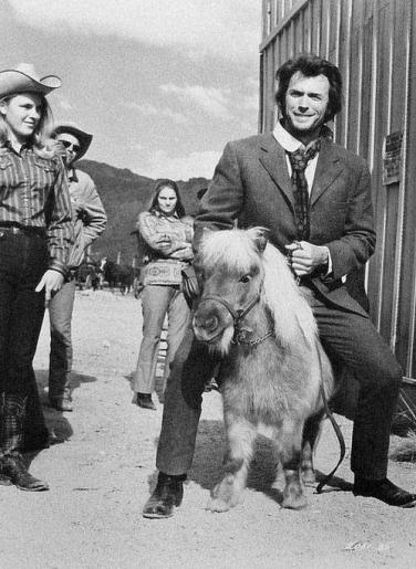 Clint Eastwood in sella a un pony in miniatura 1972